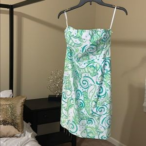 Lilly Pulitzer strapless dress size 4 green white